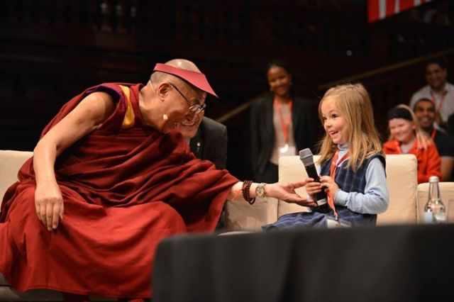 His Holiness with a participant at the Young Minds Conference in Sidney, Australia, June 17, 2013
