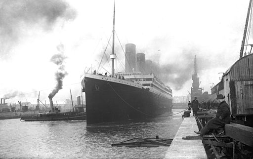 Titanic at Southampton (public domain).