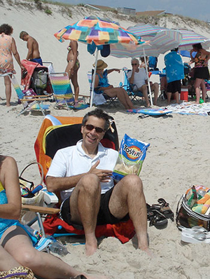 The author researching beach food at Beach Haven, NJ