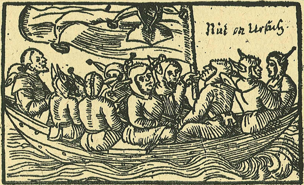 Ship of Fools.  German woodcut, 1549