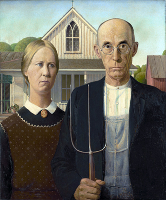 American Gothic by Grant Wood.  Public Domain