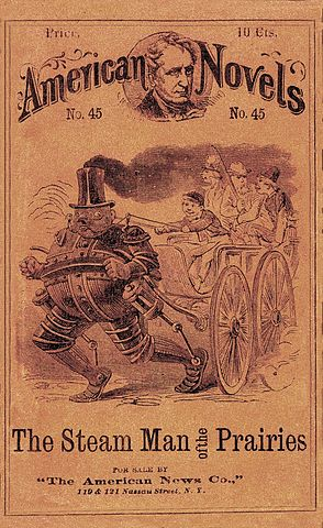 The Steam Man of the Prairies, 1868.  Public Domain.