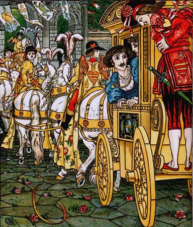 The princess, the prince, and Heinrich in Walter Crane's 1874 illustration.