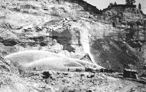 Hydraulic mining along the Yuba river.  Malakofdigginsstatepark.org
