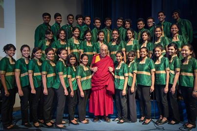 Dalai Lama with Christ University Choir, Bangalore, India