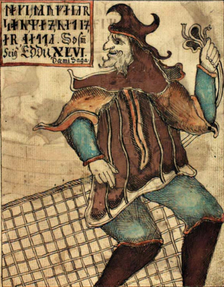 Loki, from 18th c. Icelandic manuscript. Public domain.