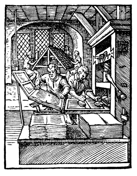 Printing, ca. 1568.  Public domain.