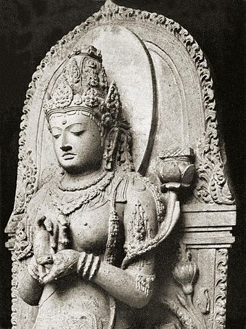 "Prajnaparamita, Sanskrit for ""The perfection of wisdom,"" is often personified as a goddess of transcendental wisdom in Buddhist iconography, as in this 13th c. stature from Java. Public domain."
