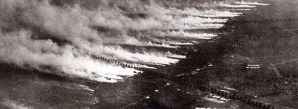 A poison gas attack in World War 1