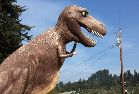 Not what you expect to see when you round the bend on the coast highway, but then, to paraphrase Monty Python, no one EVER expects a Tyrannosaurus!