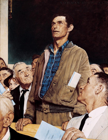 """Freedom of Speech,"" 1943. In Norman Rockwell's America, truth and respect for all viewpoints mattered"