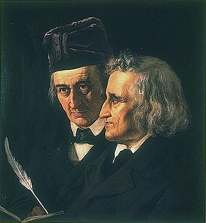 Wilhelm and Jacob Grimm, 1855. Painting by Elisabeth Jerichau-Baumann