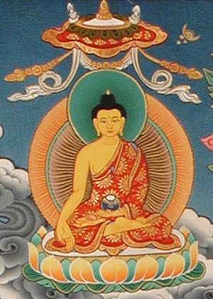"Ratnasambhava, the primordial Buddha of ""the wisdom of equality,"" manifests the virtue of generosity."