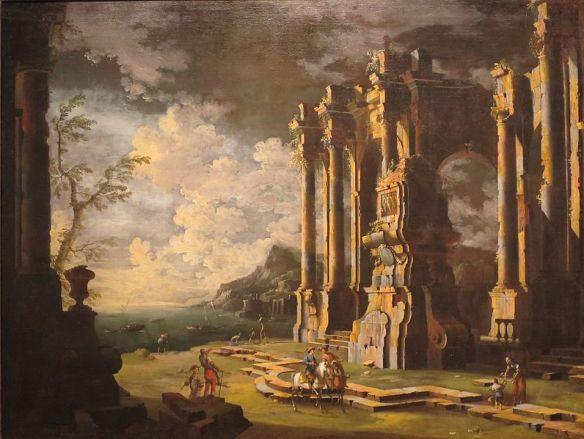 Harbor Scene with Roman Ruins, Leonardo Coccorante (1680-1750), public domain